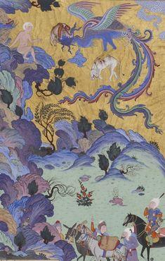 Seemorgh and Zaal, 16th century Persian miniature