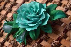 "Цветы из фоамирана. Брошь-заколка ""Лесная нимфа"" - морская волна, изумрудный. Фоамиран. flowers in her hair"