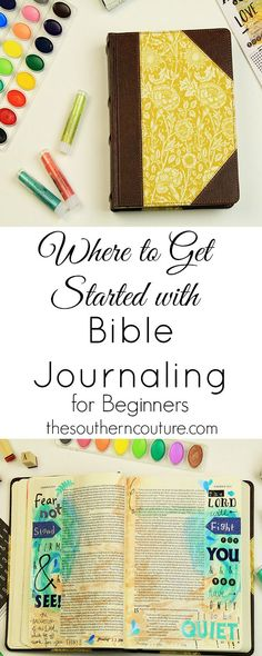 Seeing so many gorgeous entries with Bible journaling can become intimidating. In this first post of many more to come, you can find the basics to get you started with Bible journaling and what basic supplies are great for beginners. Get all the details a Bible Journaling For Beginners, Bible Study Tips, Bible Study Journal, Scripture Study, Bible Art, Bible Verses, Art Journaling, Scriptures, Prayer Journals