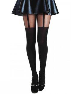 Pamela Mann Plain Stripe Suspender Tights - Available in Medium,  XL & XXL & XXXL