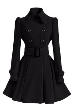 Enjoy exclusive for ForeMode Women Swing Double Breasted Wool Pea Coat Belt Buckle Spring Mid-Long Long Sleeve Lapel Dresses Outwear online - Ufavoritetrendy Winter Coats Women, Coats For Women, Clothes For Women, Double Breasted Trench Coat, Belted Coat, Coatdress, Winter Trench Coat, Winter Overcoat, Chic Outfits
