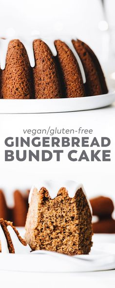 Vegan Gingerbread Bundt Cake Soft, spiced, sweet, and EASY. This Vegan Gingerbread Bundt Cake is the perfect Christmas recipe with healthier ingredients and dreamy glaze drizzle on top! Gluten Free Gingerbread, Gingerbread Cake, Christmas Gingerbread, Bolo Vegan, Cake Vegan, Healthy Vegan Dessert, Vegan Sweets, Food Cakes, Tart Recipes