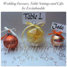 Daffodil, Yellow and orange Wedding Favours, Table Settings and Gifts www.excitabauble.co.uk