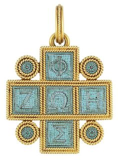 An Archaeological Revival Gold and Turquoise Micromosaic Pendant, Castellani, circa 1870. The stylised cross edged by two rows of rope-twist gold, centring square turquoise micromosaic plaques accented by Greek alphabet letters outlined in silver, flanked by four circular micromosaic plaques within double rows of rope-twist gold, the reverse with raised square panels surmounted by a semi-circle wire pattern, with maker's mark. #Castellani #ArchaeologicalRevival #pendant