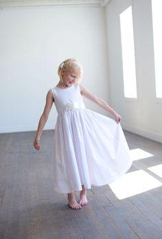 Pure Cotton Flower Girl Dress, Summer flower girl dress, natural cotton flower girl by gillygray on Etsy https://www.etsy.com/uk/listing/175554339/pure-cotton-flower-girl-dress-summer