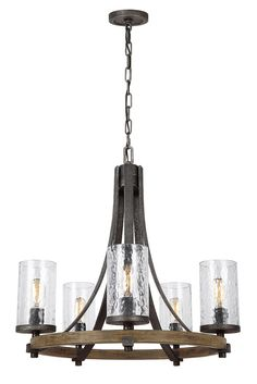 Kichler barrington 2402 in 5 light distressed black and wood rustic angelo 5 light chandelier by feiss celebrates the beauty of imperfection and the visual impact of mixed materials to create an overall rugged look aloadofball Choice Image