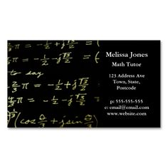 Shop Math equations blackboard maths tutor / teacher business card created by inspirationzstore. Personalize it with photos & text or purchase as is! Math Help, Fun Math, Maths, Teacher Business Cards, Presentation Cards, Math Tutor, Education Logo, Math Facts, School Teacher