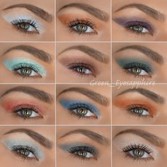 NYX Prismatic Eyeshadows Swatches: Left to Right from the top: frost bite, liquid gold, punk heart, mermaid, bedroom eyes, jaded, golden peach, blue jeans, fireball, tin, smoke & mirrors, girl talk