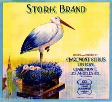 Claremont Los Angeles County Stork #2 Orange Citrus Fruit Crate Label Art Print