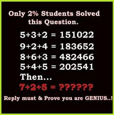 Tough & Hard Excellent Genius Math Puzzles Problems Riddles With Answers Solution one of the hard tough only for genius excellent math puzzles problems with answer & solution Pics Hard Math Riddles with answer & solution Pics Logic Math, Math Humor, Physics Jokes, Riddle Puzzles, Maths Puzzles, Logic Questions, Riddles With Answers Clever, Riddles Clever, Motivational Quotes