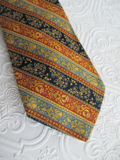 MENS NECKTIE Neck Tie VintageNavy Blue Orange by BeansterGoods  Kisvállalkozás 442dfc554b
