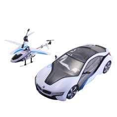 Costway- 1:14 2.4G Speed Twins BMW i8 Car & Helicopter Radio Remote Control RC Toy