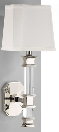 solid crystal sconce with polished nickel details; wall lighting ideas; crystal lighting;  #sconces