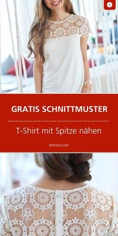 Einfaches T-Shirt mit Spitze nähen: Schnittmuster kostenlos