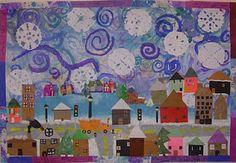 Art With Mr. E: Winter Mural: K - nice art project to go with Katy and the Big Snow. Group Art Projects, Collaborative Art Projects, Winter Art Projects, Ecole Art, Kindergarten Art, Art Lessons Elementary, Art Classroom, Art Plastique, Art Activities