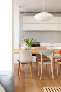 כסאות אוכל בצורות ובצבעים שונים ( צילום: עמית גירון )