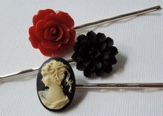 Hair Pin Pack  Black and Ivory Cameo Red Rose and by TheSilverDog, $10.00