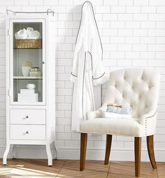 Design Tip: adding free standing cabinets in the bathroom can make for very stylish towel and bath accessory storage!