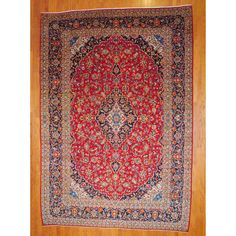 Persian Hand-knotted 1960's Kashan Red/ Navy Wool Rug (9'7 x 13'9) - Overstock™ Shopping - Great Deals on 7x9 - 10x14 Rugs