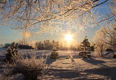 Kevättalven kauneutta. Kevät voittaa ja taittaa talven selän.