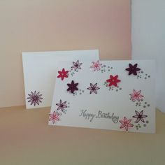 Note card using Stampin'Up! silver embossing powder, Melon Mambo and Rich Razzleberry Cardstock and Timeless Textures and Blossom Bunch Punch.