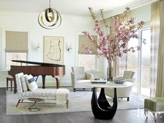 Modern Neutral Colored Living Room with Piano