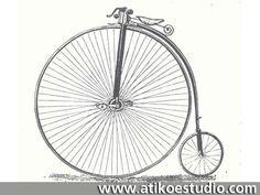 1855. El francés Michaux diseña una nueva concepción de la bicicleta al introducir pedales en la rueda anterior que en aquella época era mucho mas grande que la rueda trasera.
