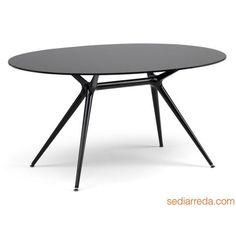 Metropolis 2402 - Tavolo ovale nero, con piano vetro nero