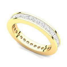 Juno Jewelry 18k Yellow Gold Channel set Diamond Eternity Band Ring (G-H/VS, 2 ct.)