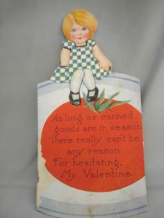 #VintageValentine 1920's Girl sitting on Canned Tomatoes