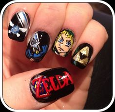 Legend of Zelda nails...we could have used this a few months ago when I attempted (and mostly failed) painting Zelda on your nails, @Megan Reynolds