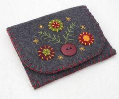 Felt coin purse, Grey felt pouch, change purse, floral purse