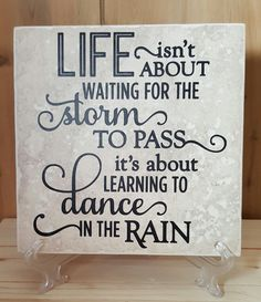 6 x 6 Dance In The Rain ceramic tile click now for info. Tile Projects, Vinyl Projects, Vinyl Crafts, Bible Crafts, Pallet Projects, Fun Projects, Vinyl Quotes, Sign Quotes, Faith Quotes