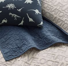 RH baby&child's Dinosaur Print & Vintage-Washed Percale Bedding Collection:Prehistoric dinosaurs are rendered on a soft and supple blend of cotton and linen. Its textural hand lends a relaxed look & and feels right at home in any young archeologist& room.