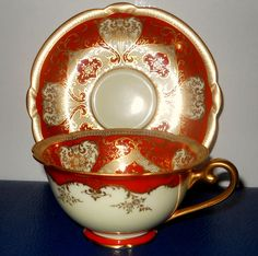 Antique Rare Tea Cup and Saucer Set Orange Burnt by GLAMATIQUES