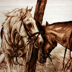 Craving by pyrography on maple wood