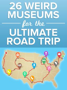 Here's our ultimate cross-country road trip, featuring not one, not two, but 26 weird museums, from an entire building devoted to bananas to the official Dolly Parton museum. Rv Travel, Time Travel, Family Travel, Places To Travel, Adventure Travel, Travel Destinations, Travel Gadgets, Adventure Awaits, Travel Tips