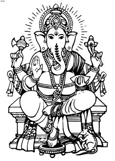 Best Coloring: Ganesha clip art coloring pages - Amazing Coloring sheets - Pintura Ganesha, Arte Ganesha, Ganesha Sketch, Ganesha Drawing, Lord Ganesha Paintings, Art Drawings For Kids, Outline Drawings, Colorful Drawings, Outline Images