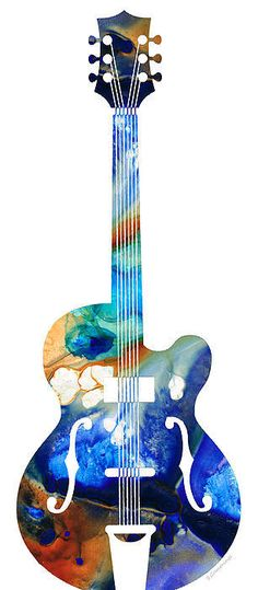 Vintage Guitar - Colorful Abstract Musical Instrument Painting by Sharon Cummings - Vintage Guitar - Colorful Abstract Musical Instrument Fine Art Prints and Posters for Sale Guitar Painting, Guitar Art, Music Painting, Acoustic Guitar, Guitar Posters, Music Images, Guitar Images, Musical Instruments, Cool Art