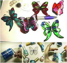 Make lovely butterflies from recycled plastic bottle --> http://wonderfuldiy.com/wonderful-diy-pretty-butterfly-from-recycled-bottle/ #diy #butterfly