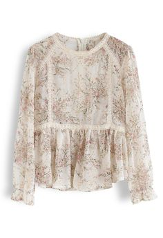 Bouquet Printed Eyelet Embroidered Peplum Top in Cream - Long Sleeve - TOPS - Retro, Indie and Unique Fashion Stylish Dresses For Girls, Frocks For Girls, Tunic Designs, Kurta Designs, Short Frocks, Frock Design, Pakistani Dress Design, Unique Fashion, Vintage Looks