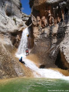 Listings For Canyoning and adventure in Sierra de Guara - Spain, Las Almunias de Rodellar, Spain Sight-Seeing Tours, Calle Mayor S/N Living On The Edge, Turquoise Water, Paradis, Home And Away, Study Abroad, Natural Wonders, Places Ive Been, Waterfall, Beautiful Places