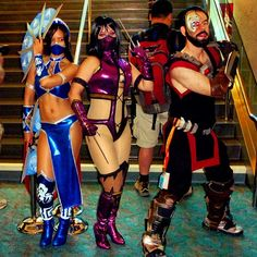 Kitana, Mileena & Kano #cosplay #mortalcombat #comiccon #sdcc