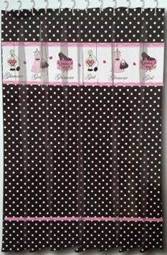 "Glamour Girl Black & White Polka Dot Fabric Shower Curtain w/ Pink Diva Paris Chic - 70"" X 72"""