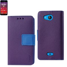 Reiko Wallet Case 3 In 1 For Kyocera Hydro Wave- Hydro Air- C6740 With Interior Leather-Like Material & Polymer Cover Purple