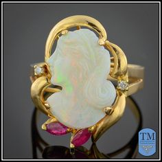 Vintage 14k Gold Carved Opal Cameo Ring - Size 5.5