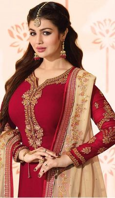 Genuine elegance comes out out of your dressing style with this Maroon Color Georgette Bollywood Celebrity Aysha Takia Salwar Kameez. Indian Fashion Trends, Indian Designer Outfits, Beautiful Bollywood Actress, Most Beautiful Indian Actress, Bollywood Girls, Bollywood Celebrities, Indian Gowns Dresses, Girls Dresses, Lehenga