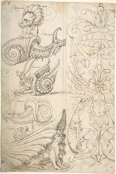 Grotesque at Right with Winged Female; and Lion Mask, with Four Snails and Dog-creature Inside Shell (recto); Column of Grotesques with Masque (verso)