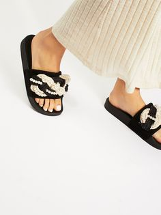 Mother Of Pearl Slip Sandals | Simple sporty slides with a femme update. Features bold statement rope details over suede with faux pearl accents throughout.
