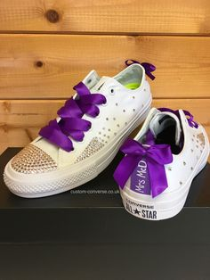 Chuck 2 Swarovski low top Wedding Converse with purple ribbon laces, bows and personalised Heel Tags #weddingconverse